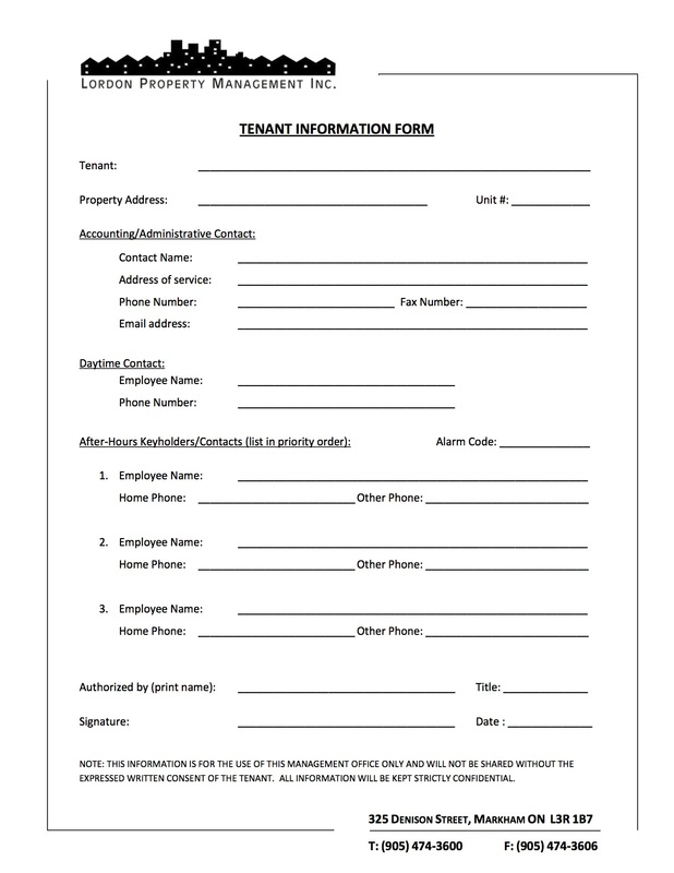 Tenant Information Forms Lordon Property Management Inc – Tenant Information Form